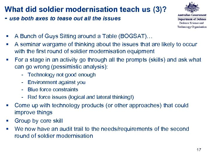 What did soldier modernisation teach us (3)? - use both axes to tease out
