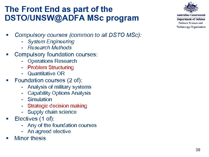 The Front End as part of the DSTO/UNSW@ADFA MSc program § Compulsory courses (common
