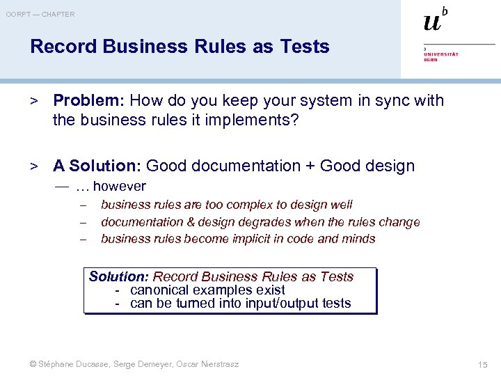 OORPT — CHAPTER Record Business Rules as Tests > Problem: How do you keep