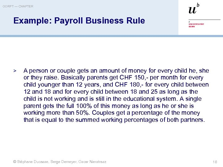 OORPT — CHAPTER Example: Payroll Business Rule > A person or couple gets an