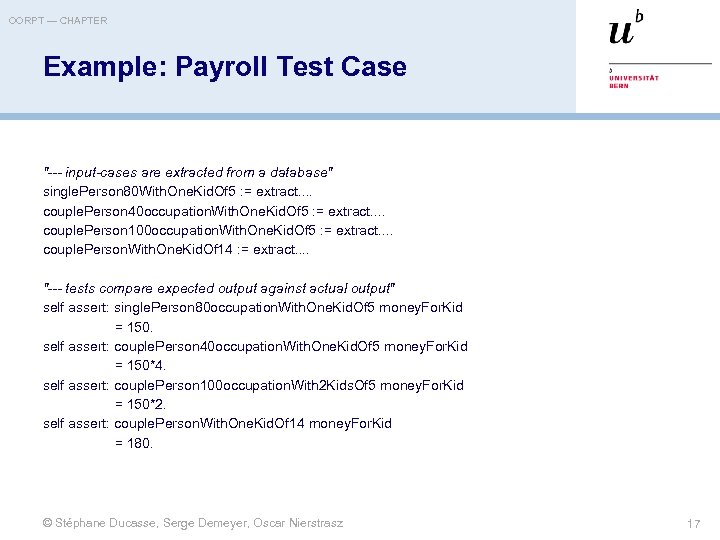 OORPT — CHAPTER Example: Payroll Test Case