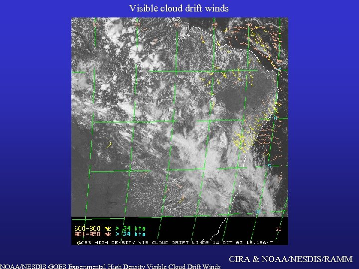 Visible cloud drift winds NOAA/NESDIS GOES Experimental High Density Visible Cloud Drift Winds CIRA
