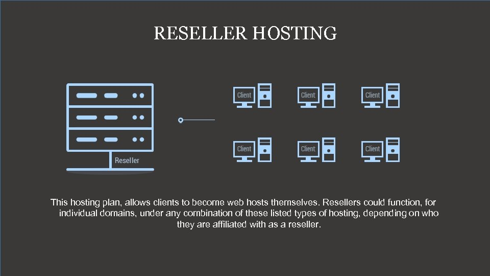 RESELLER HOSTING This hosting plan, allows clients to become web hosts themselves. Resellers could