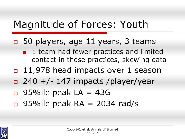 Magnitude of Forces: Youth o 50 players, age 11 years, 3 teams n o