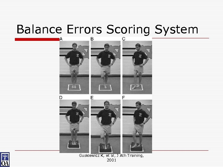 Balance Errors Scoring System Guskiewicz K, et al, J Ath Training, 2001