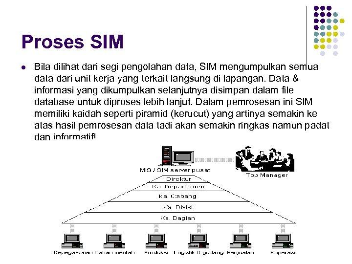 Proses SIM l Bila dilihat dari segi pengolahan data, SIM mengumpulkan semua data dari