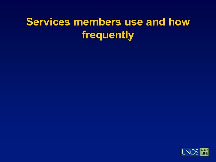 Services members use and how frequently