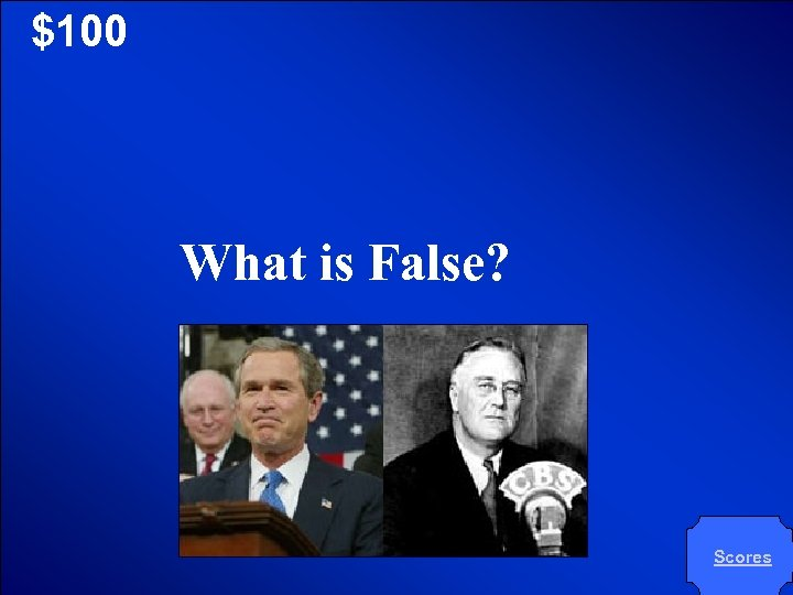 © Mark E. Damon - All Rights Reserved $100 What is False? Scores