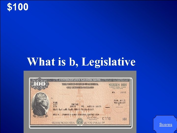 © Mark E. Damon - All Rights Reserved $100 What is b, Legislative Scores