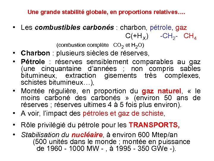 Une grande stabilité globale, en proportions relatives…. • Les combustibles carbonés : charbon, pétrole,