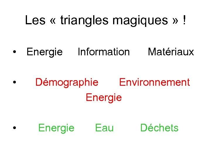 Les « triangles magiques » ! • Energie Information Matériaux • Démographie Environnement Energie