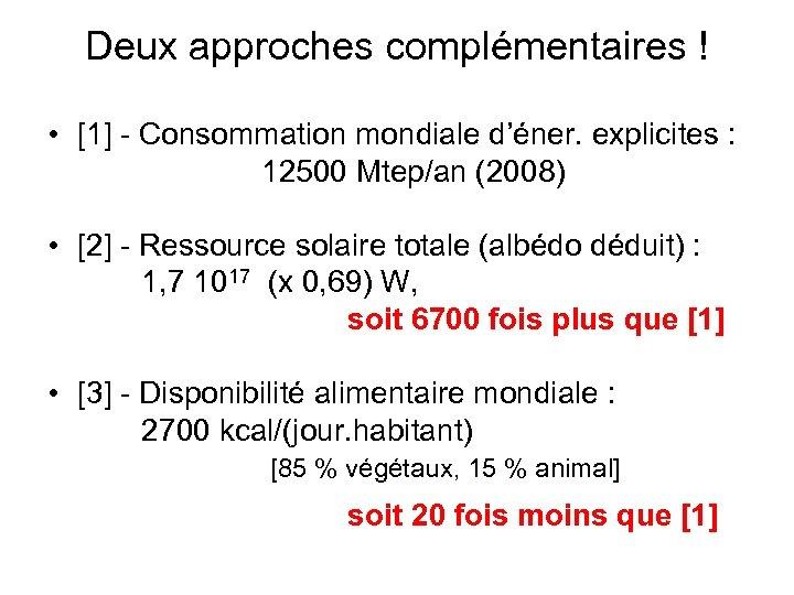 Deux approches complémentaires ! • [1] - Consommation mondiale d'éner. explicites : 12500 Mtep/an