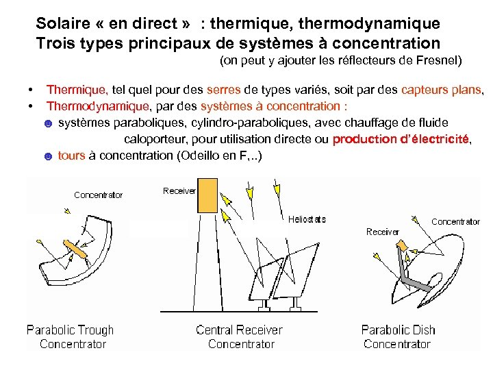 Solaire « en direct » : thermique, thermodynamique Trois types principaux de systèmes à