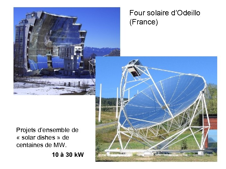 Four solaire d'Odeillo (France) Projets d'ensemble de « solar dishes » de centaines de