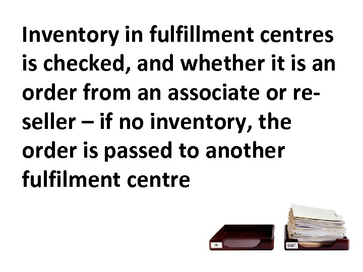 Inventory in fulfillment centres is checked, and whether it is an order from an