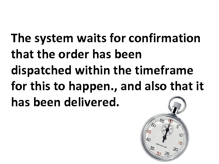 The system waits for confirmation that the order has been dispatched within the timeframe