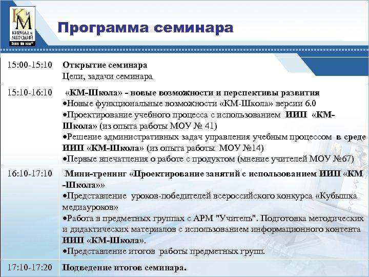Программа семинара 15: 00 -15: 10 Открытие семинара Цели, задачи семинара 15: 10 -16: