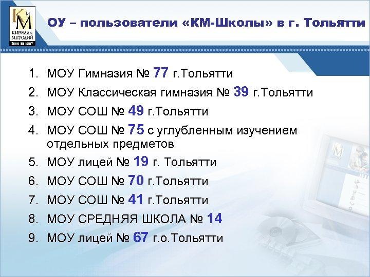 ОУ – пользователи «КМ-Школы» в г. Тольятти 1. МОУ Гимназия № 77 г. Тольятти