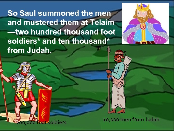 So Saul summoned the men and mustered them at Telaim —two hundred thousand foot