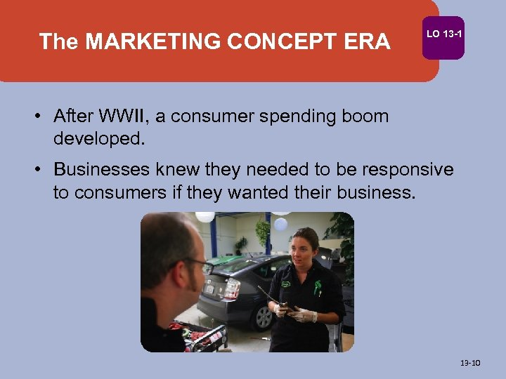 The MARKETING CONCEPT ERA LO 13 -1 • After WWII, a consumer spending boom