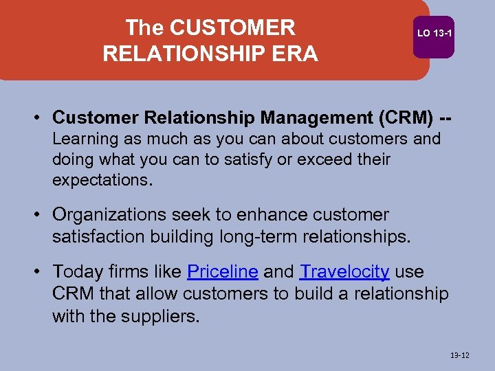 The CUSTOMER RELATIONSHIP ERA LO 13 -1 • Customer Relationship Management (CRM) -Learning as