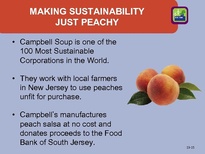 MAKING SUSTAINABILITY JUST PEACHY • Campbell Soup is one of the 100 Most Sustainable