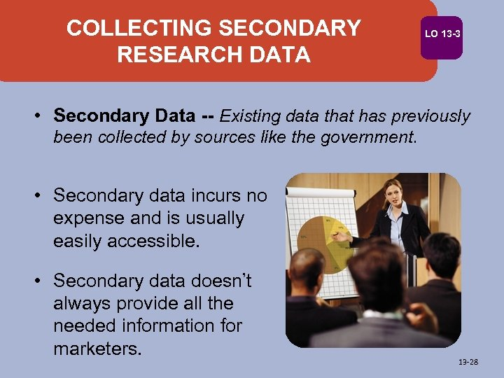 COLLECTING SECONDARY RESEARCH DATA LO 13 -3 • Secondary Data -- Existing data that