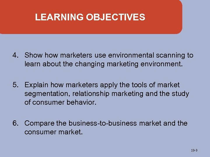 LEARNING OBJECTIVES 4. Show marketers use environmental scanning to learn about the changing marketing