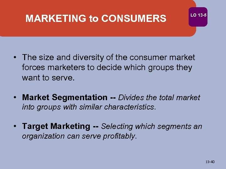MARKETING to CONSUMERS LO 13 -5 • The size and diversity of the consumer