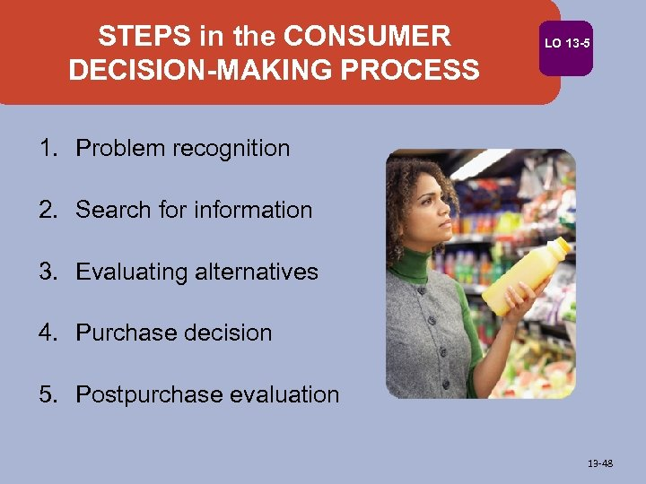 STEPS in the CONSUMER DECISION-MAKING PROCESS LO 13 -5 1. Problem recognition 2. Search