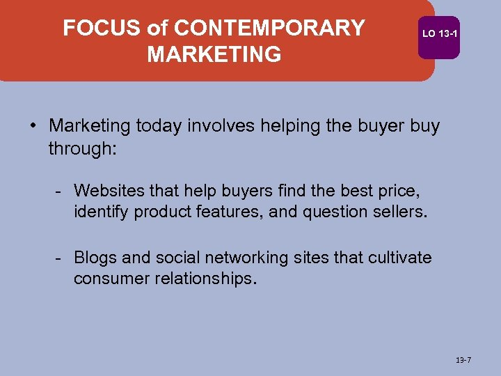 FOCUS of CONTEMPORARY MARKETING LO 13 -1 • Marketing today involves helping the buyer