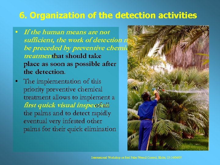6. Organization of the detection activities • If the human means are not sufficient,