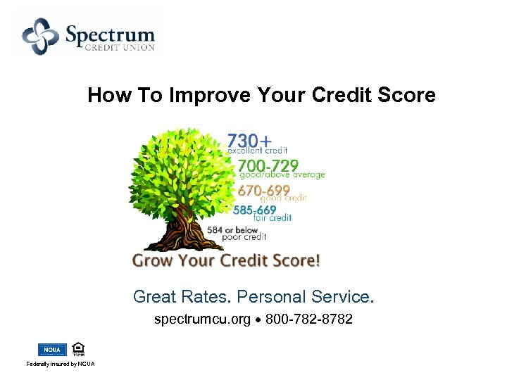 How To Improve Your Credit Score Great Rates. Personal Service. spectrumcu. org 800 -782