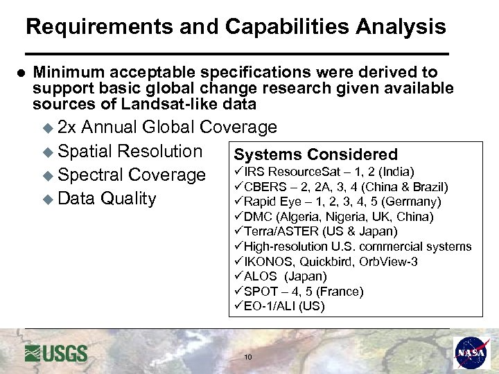 Requirements and Capabilities Analysis l Minimum acceptable specifications were derived to support basic global