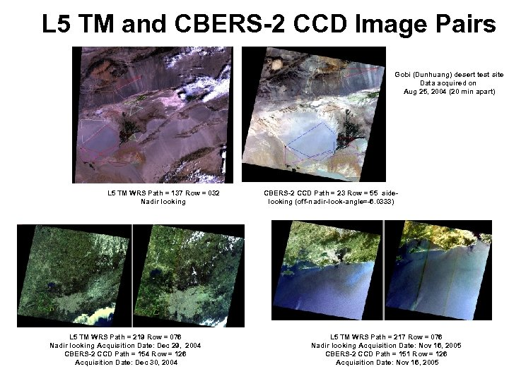 L 5 TM and CBERS-2 CCD Image Pairs Gobi (Dunhuang) desert test site Data