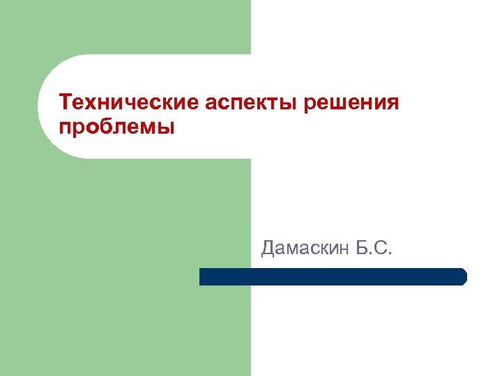Технические аспекты решения проблемы Дамаскин Б. С.