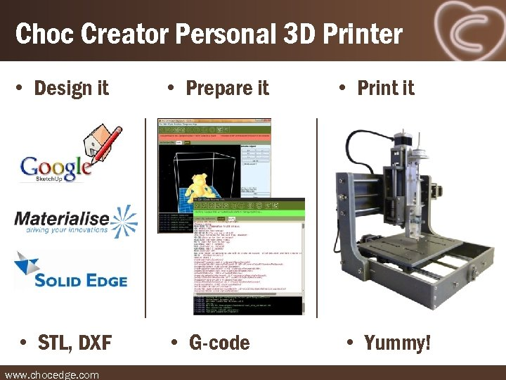 Choc Creator Personal 3 D Printer • Design it • Prepare it • STL,