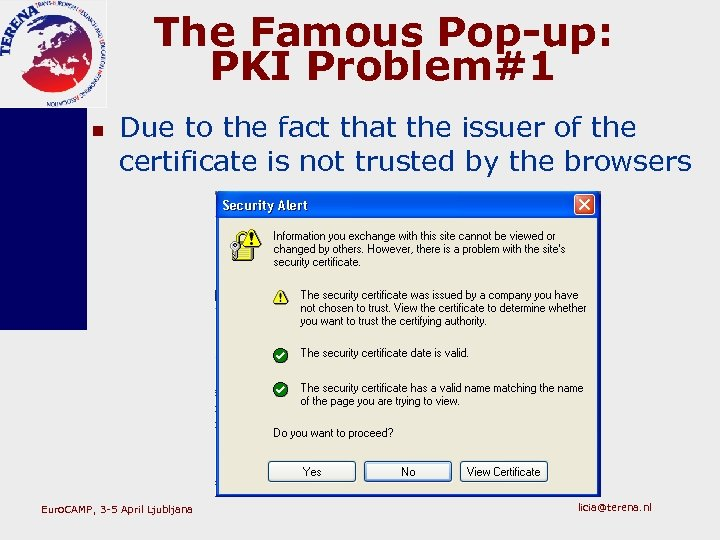 The Famous Pop-up: PKI Problem#1 n Due to the fact that the issuer of