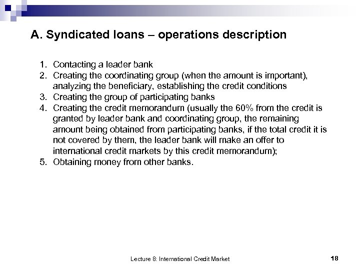 A. Syndicated loans – operations description 1. Contacting a leader bank 2. Creating the