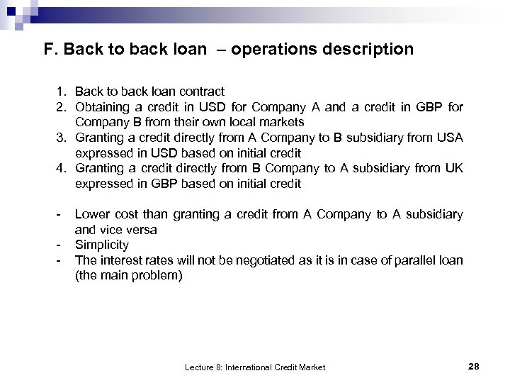 F. Back to back loan – operations description 1. Back to back loan contract