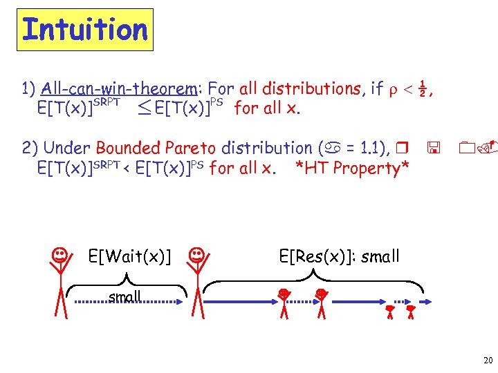 Intuition 1) All-can-win-theorem: For all distributions, if r < ½, E[T(x)]SRPT £ E[T(x)]PS for