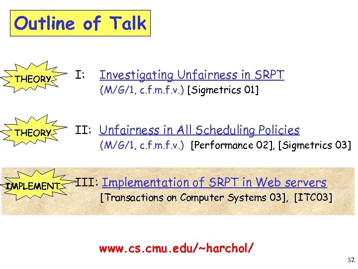 Outline of Talk THEORY I: THEORY II: Unfairness in All Scheduling Policies IMPLEMENT Investigating