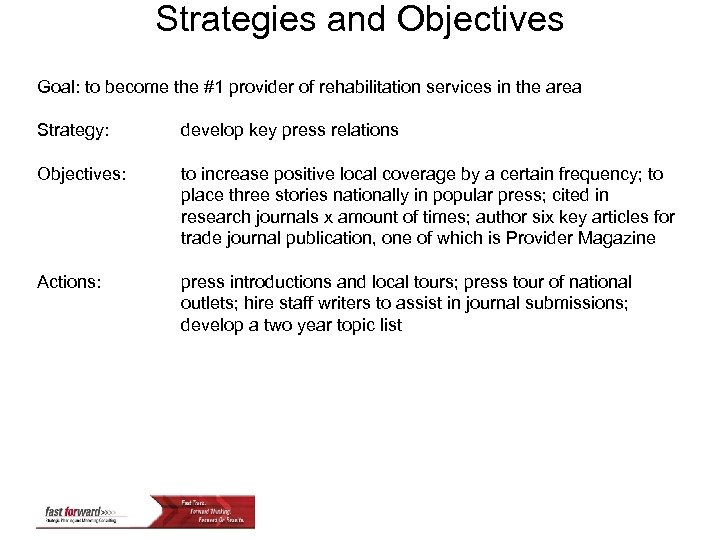 Strategies and Objectives Goal: to become the #1 provider of rehabilitation services in the