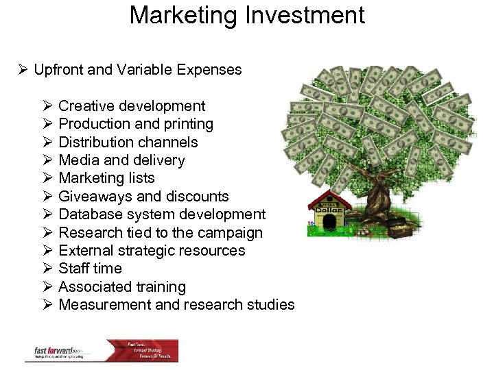 Marketing Investment Ø Upfront and Variable Expenses Ø Creative development Ø Production and printing