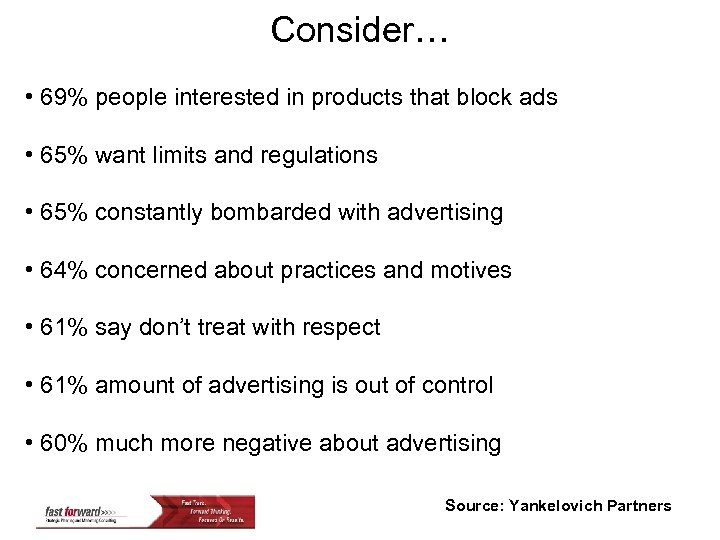 Consider… • 69% people interested in products that block ads • 65% want limits