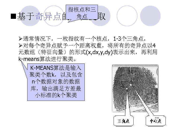 n 指核点和三 角点 基于奇异点的特征提取 Ø通常情况下,一枚指纹有一个核点,1 -3个三角点, Ø对每个奇异点赋予一个距离权重,将所有的奇异点以 4 元数组(特征向量)的形式(x, dx, y, dy)表示出来,再利用 k-means算法进行聚类。 K-MEANS算法是输入