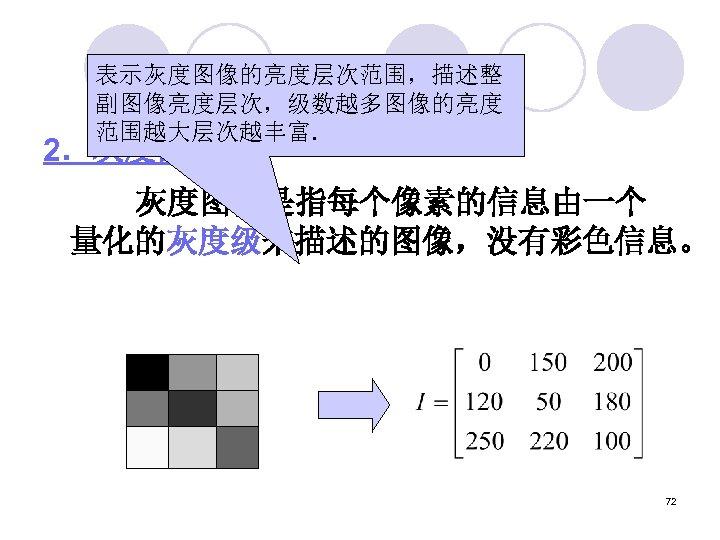 表示灰度图像的亮度层次范围,描述整 副图像亮度层次,级数越多图像的亮度 范围越大层次越丰富. 2.灰度图像    灰度图像是指每个像素的信息由一个 量化的灰度级来描述的图像,没有彩色信息。 72