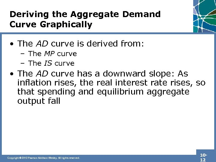 Deriving the Aggregate Demand Curve Graphically • The AD curve is derived from: –