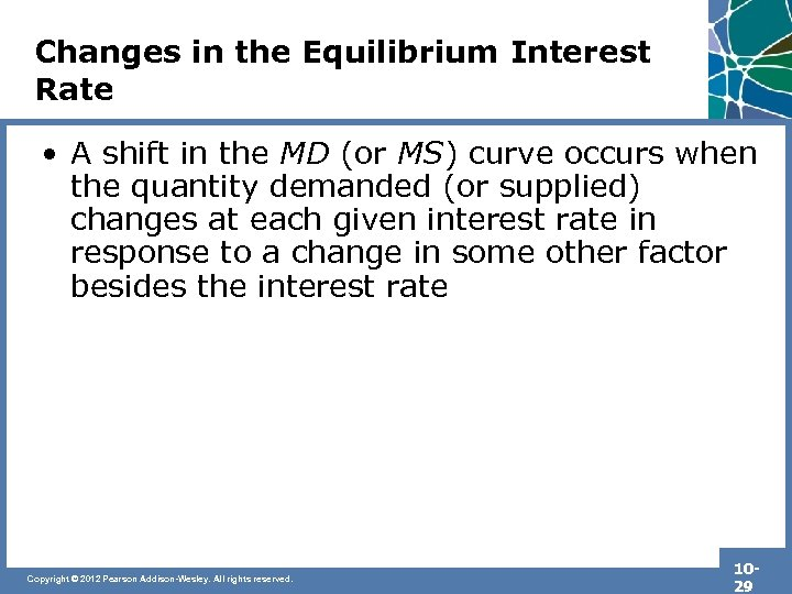 Changes in the Equilibrium Interest Rate • A shift in the MD (or MS)