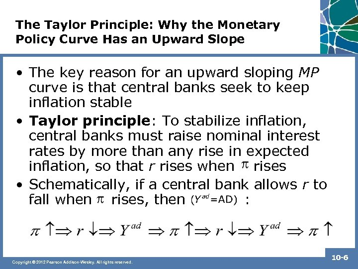 The Taylor Principle: Why the Monetary Policy Curve Has an Upward Slope • The